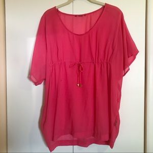 Bright Pink Sheer Blouse Cover Up